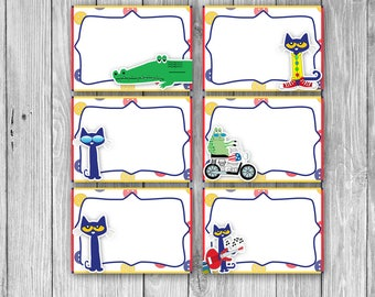 Pete the Cat Food Tags/Labels (Digital)