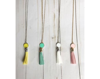Monogram Tassel Pendant Necklace