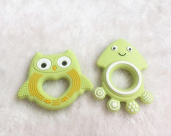 2 pcs Chartreuese Owl Teether Food Grade Silicone Teether Jellyfish BPA free Baby Teether Nursing Toy Baby Rattles Sensory pendant
