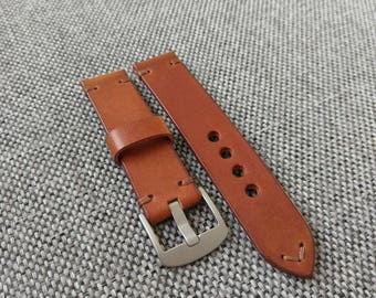 Handmade whiskey tan watch strap - 20mm