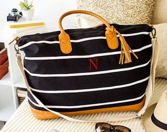 Personalized Striped Weekender Bag