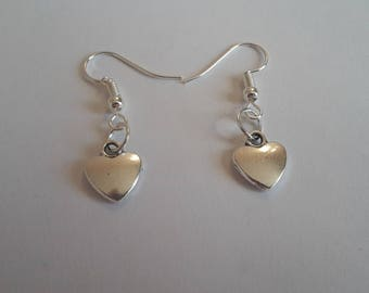 Tibetan Silver Heart Charm Dangle Earrings On Silver Plated Earring Hooks With Gift Box - Ideal Gift