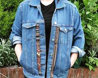 Oversized customised denim jacket