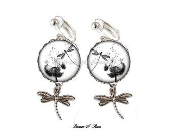 Dragonfly silver glass cabochon clip earrings