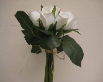"CREAM Hand Tied Rose Bud 11"" Bouquet Artificial Silk Flower 12-5606CR"