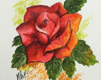 Red Rose/Watercolor and Ink/Rose art/Floral watercolor/5 x 7 painting/Roses/Home decor/Rose