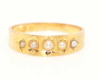 Fine Vintage/Antique 18ct Solid Gold 5 Seed Pearl Gypsy Set Band Ring, Size O