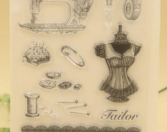 Tailor Sewing Clear Rubber Stamp Set with sewing machine, scissors, pin, button, measure tape, pincushion, thread, forder, dress form stamps