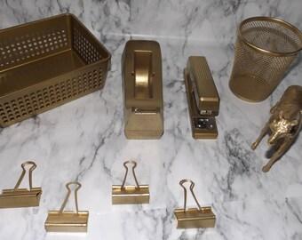 Gold Desk Office Supplies | Glam office Supplies | Gold Tape Dispenser | Gold Stapler | Girl Boss | Luxe Office Supplies| Coworker Gifts