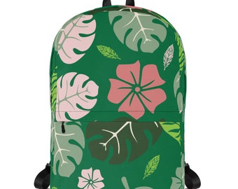 "Tropical floral green Backpack School Backpack Unisex Backpack 15"" Laptop Backpack kids school backpack backpack diaper bag backpack women"