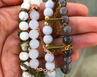 Stacking bracelets, boho jewelry, gifts for mom, gifts for her, neutrals, healing crystals, meditation beads, mala bracelets, yoga beads
