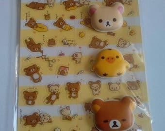 San-x Rilakkuma flat and puffy stickers