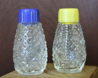 Pressed Glass Miniature Salt and Pepper Shakers