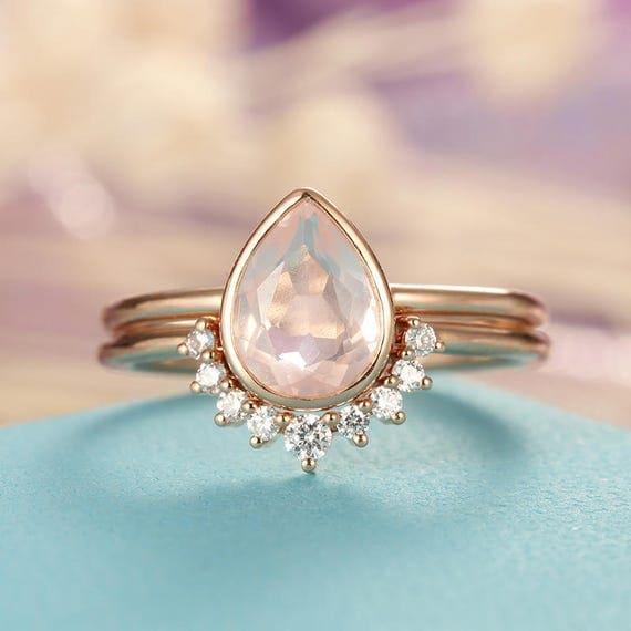 Rose Quartz Engagement Ring Rose Gold engagement ring Vintage