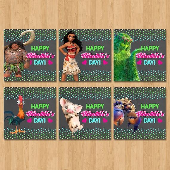 Moana Valentine's Day Cards - Chalkboard Pink, Green, Blue - Moana Valentine's Day Party - Moana School Valentine's Cards - Moana Printables