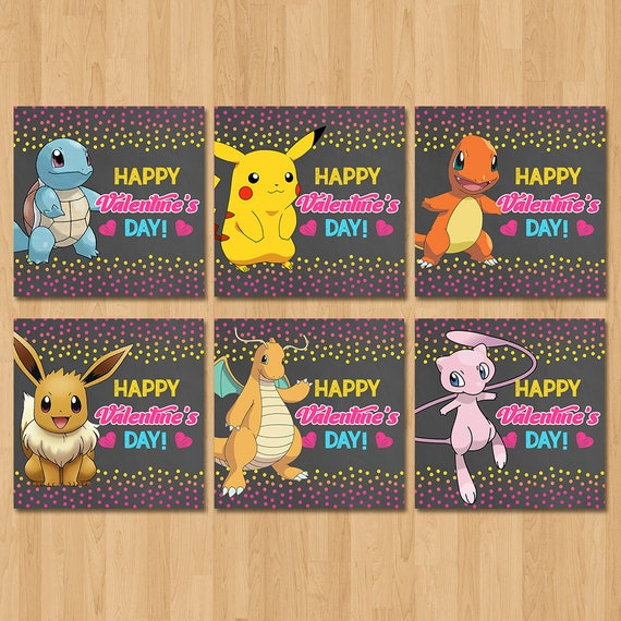 Pokemon Valentine's Day Cards - Chalkboard Pink, Yellow, Blue - Pokemon Boy Valentine's Day - Pokemon School Valentine's Cards - Printables