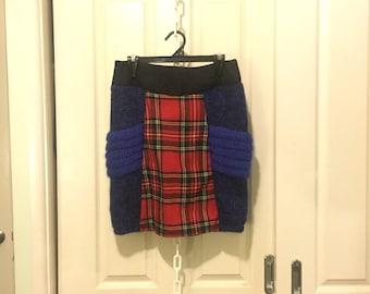 Upcycled Tartan Knitted Skirt
