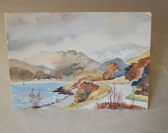 Watercolor, vintage, 80-90 years, rural landscape, Watercolors, painting, decoration, fall colors.