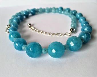 Aquamarine set - graduated sky blue bead necklace, bracelet and earrings
