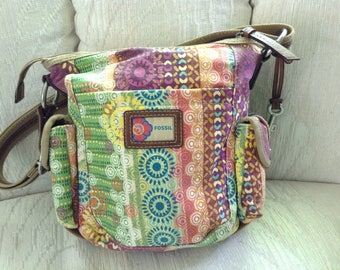 Fossil Canvas And Faux Leather Shoulder Bag In Bright Colors