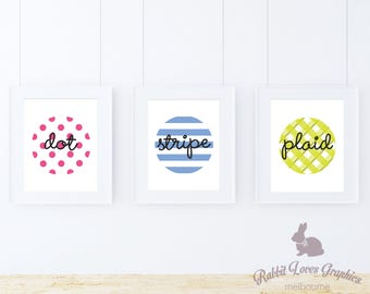 Custom Digital Print - Dot-Stripe-Plaid Print, Personalise, Family Print, Home Decor