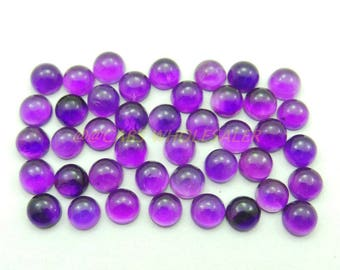 10 Pcs - Natural Amethyst Smooth Round Shape Cabochons - 5 MM Size - Amethyst Cabochons - High Quality - Amethyst Cabochon - Wholesalegems