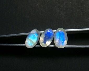 Rainbow Moonstone Gemstone Cabochon, Rainbow Moonstone Cabochons, Rainbow Moonstone Faceted Cut Oval Stone, 9.5-10 MM, 3 Pcs, Wholesalegems