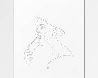 Anouk - Fine Art Print of One Single Line Illustration