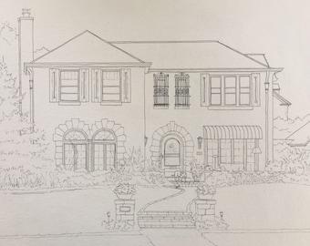 Custom House Drawing-original house drawing-house illustration