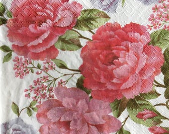 Decoupage Napkins x4, Paper Napkins for Decoupage Craft Collage Pink  Flowers 772