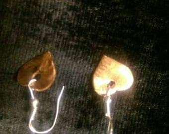 Heart Earrings, Sterling Silver Hooks