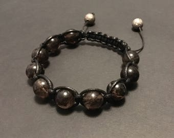Quartz bracelet - Mens bracelet - Tourmalated Quartz beads - Beaded bracelet - Shamballa style bracelet