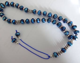 Very Pretty Crystal Tasbeeh Rosary Metallic Blue Crystal FREE UK SHIPPING