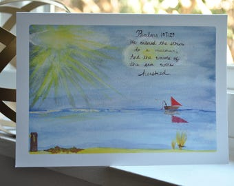 Beautiful {blank} Watercolor Greeting Card made by 8 year-old artist: Calms the Storm