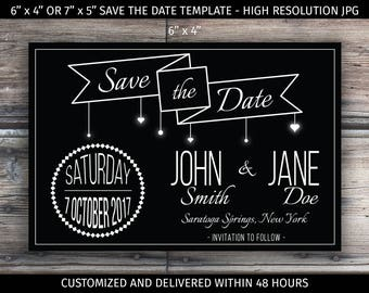 High Resolution Print Ready Customized Save the Date - JPG Digital File - Printable,  Black & White Design, Wedding, Template, Announcement