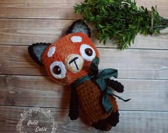 sale,Crochet firefox, amigurumi firefox, red panda amigurumi,cute animal,cute amigurumi toy,crochet gift,firefox toy,