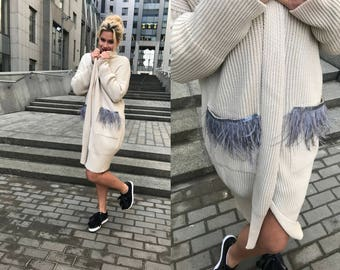 Knitted cardigan sweater beige, Mother's day gift, long coat women, pocket clothing, boho jacket, spring wrap sweater, feather gray decor