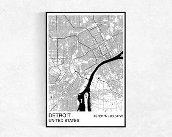 Detroit City Map Print, Custom Map Print, Street Map, Black & White, Detroit Map, Personalised Map Print, Map Wall Art, City Map Print