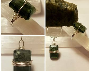 Gemy Faceted Green Amethyst Silver Plated Necklace and Ring Set