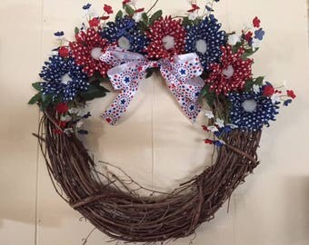Patriotic wreath, 4th of July wreath, Red, White and Blue wreath