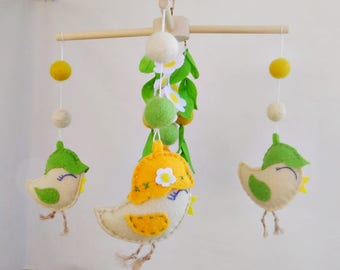 Baby mobile Spring Baby nursery mobile Unique baby mobile Crib mobile Baby ceiling mobile Baby felt mobile Ecology decor Modern baby mobile
