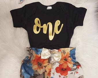 Baby Girl 1st Birthday Outfit, Bloomer Birthday Outfit, First Birthday Outfit , Floral Birthday Outfit , Birthday Girl Outfit,