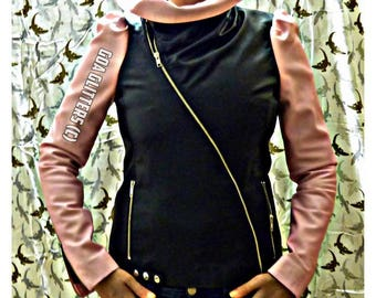 Perfecto LUCRETIA GoaGlitters Lamb by little biker jacket leather jacket gathered sleeves, collar, pink and black medium only