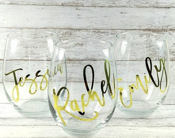 Personalized Wine Glasses//Customized Stemless Wine Glass//Bridesmaid Gift//Bridal Party Gift//Wedding Gift//Gift For Her//Birthday Gift