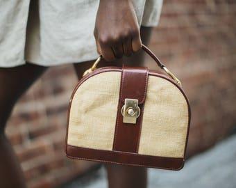 Vintage Raffia Box Bag