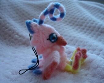 Needle felted Biyomon (Digimon) plush keychain