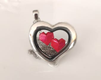 Origami Heart Necklace with 925 Sterling Silver- Glass Locket-Origami Heart-Origami Jewelry- Origami Locket- Gift For Her
