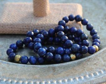 Round Faceted Lapis Lazuli Beaded Elastic Bracelet