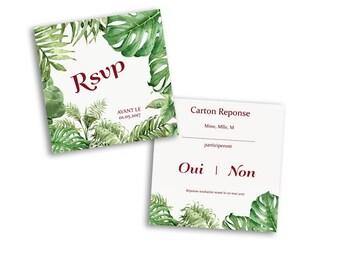 10 x Tropical wedding response card