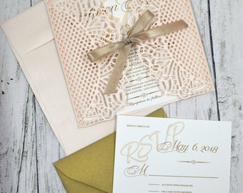 Wedding Invitation Rose and Gold Thermography (Raise Ink)